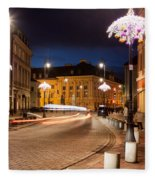 Miodowa Street In Warsaw At Night Fleece Blanket