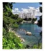 Miramare Castle Beach Fleece Blanket