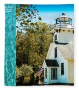 Mission Point Light House Michigan Fleece Blanket