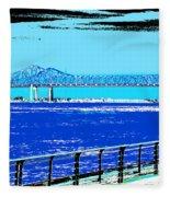 Mississippi River Bridge Poster Fleece Blanket
