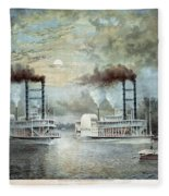 Mississippi River Race, C1859 Fleece Blanket