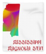 Mississippi State Map Collection 2 Fleece Blanket
