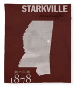 Mississippi State University Bulldogs Starkville College Town State Map Poster Series No 068 Fleece Blanket