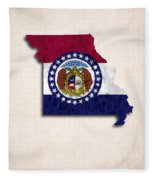 Missouri Map Art With Flag Design Fleece Blanket