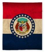Missouri State Flag Art On Worn Canvas Fleece Blanket