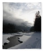 Mist Over A Snowy Valley Fleece Blanket