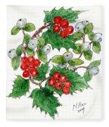 Mistletoe And Holly Wreath Fleece Blanket