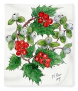 Mistletoe And Holly Wreath Fleece Blanket