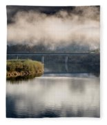 Mists And Bridge Over Klamath Fleece Blanket