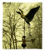 Misty Egret - Gold Fleece Blanket