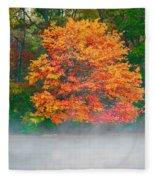 Misty Fall Tree Fleece Blanket