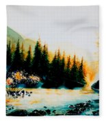 Misty Fishing Morning Fleece Blanket
