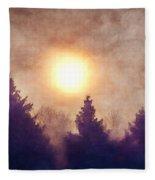 Misty Forest Sunrise Fleece Blanket