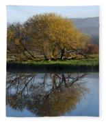 Misty Golden Sunrise Reflection Fleece Blanket