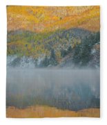 Misty Lake With Aspen Trees Fleece Blanket