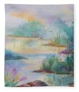 Misty Morn On A  Mountain Lake Fleece Blanket