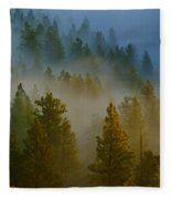 Misty Morning In The Pines Fleece Blanket