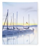 Misty Morning Sailboats Fleece Blanket