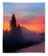 Misty Mountain Morning Fleece Blanket