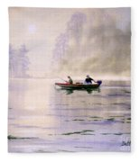Misty Sunrise On The Lake Fleece Blanket