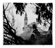 Misty View Of Monserrate Church Fleece Blanket