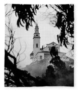 Misty View Of Monserrate Church Fleece Blanket