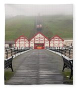 Misty View Of Victorian Pier  Redcar Fleece Blanket