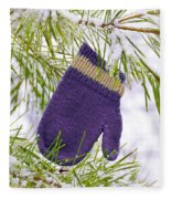 Mitten In Snowy Pine Tree Fleece Blanket
