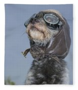Mixed Breed Dog Dressed In Leather Cap Fleece Blanket