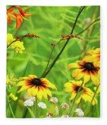Mixed Flowers Bloom In A Garden Fleece Blanket