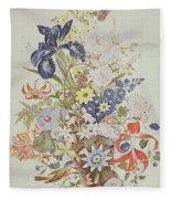 Mixed Flowers In A Cornucopia Fleece Blanket