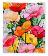Mixed Poppies Fleece Blanket