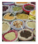 Mixed Spices In Market Of Cairo Egypt Fleece Blanket