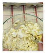Mixing Egg Salad Ingredients Fleece Blanket
