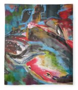 Mobie Joe The Whale-original Abstract Whale Painting Acrylic Blue Red Green Fleece Blanket
