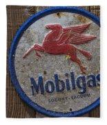 Mobil Gas Sign Fleece Blanket
