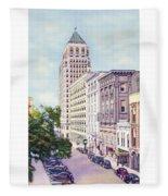 Mobile Alabama - North On St. Joseph Street - Merchants National Bank - 1937 Fleece Blanket