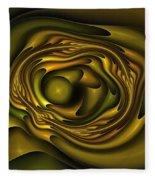 Mobius Field Generator Fractal Olive Fleece Blanket