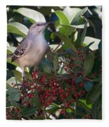 Mocking Bird And Berries Fleece Blanket