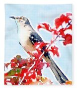 Mockingbird In The Leaves - Watercolor Fleece Blanket