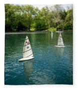 Model Boats On Conservatory Water Central Park Fleece Blanket