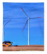 Modern Agriculture And Wind Turbines Fleece Blanket