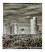 Modern Buenos Aires Black And White Fleece Blanket