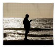 Modern Man Looking At Smart Phone Fleece Blanket