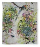 Modern Spring Blossom Art Painting Flower Butterfly Art Acrylic Ink Rice Paper Green Yellow Pink Sjk Fleece Blanket