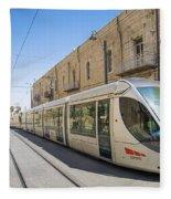 Modern Tram In Jerusalem Israel Fleece Blanket
