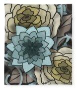 Modern Water Lily Fleece Blanket