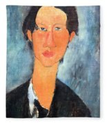 Modigliani's Chaim Soutine Up Close Fleece Blanket