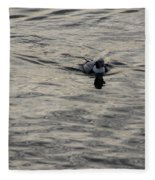 Moire Silk Water And A Long Tailed Duck Fleece Blanket