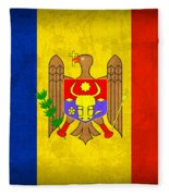 Moldova Flag Vintage Distressed Finish Fleece Blanket